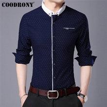 قميص رجالي ماركة COODRONY قميص خريفي جديد بأكمام طويلة من القطن قميص رجالي ملابس خروج على الموضة نقط صغير قمصان غير رسمية موضة 96020