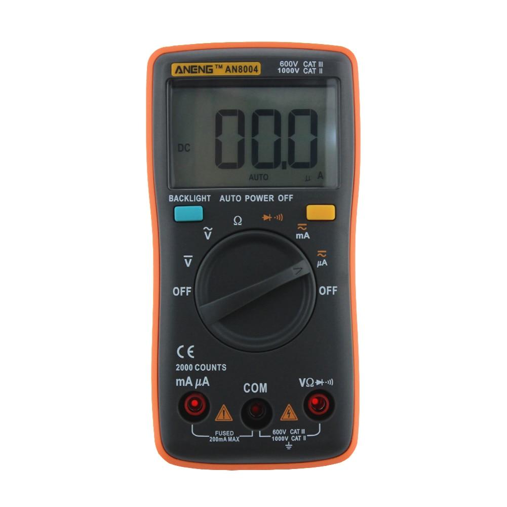 LCD Digital Multimeter 2000 Counts Backlight AC/DC Ammeter Voltmeter Ohm Meter (Blue) Measurement Analysis Instruments