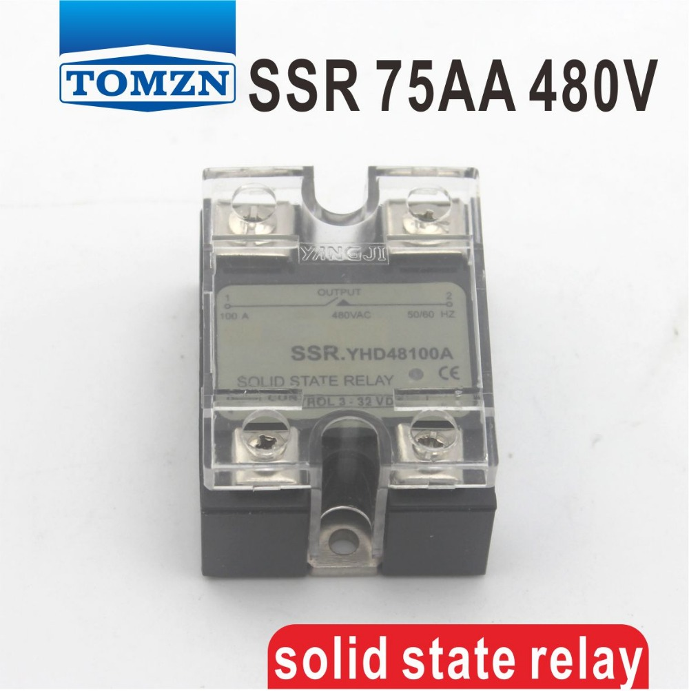 75AA SSR input 90-250V AC load 24-480V AC High voltage single phase AC solid state relay normally open single phase solid state relay ssr mgr 1 d48120 120a control dc ac 24 480v