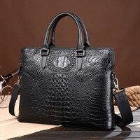 Men Business Real Genuine Leather Crocodile Grain Briefcase Travel Causal Shoulder Messenger Portfolio Bolsa Laptop Tote