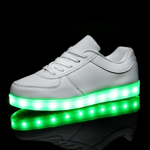 Kriativ blanco/negro iluminado shoes para niñas niños colorido resplandor cargo luminosa adolescente sneakers chaussure enfant led zapatillas
