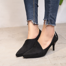 Work shoes Black ladies high heels single new style with thin in 2019