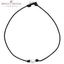 Bright MoonSingle Cultured Freshwater Pearl Choker Necklace for Women Genuine Leather Jewelry Handmade(China)