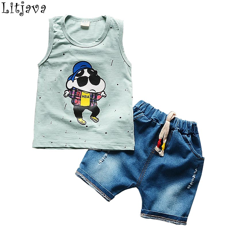 2017 Fashion Newborn Clothing Boys Denim Set for Bebes Cotton Sleeveless Tops+Short Jeans 2Pcs Sport Suit Summer Wear for baby 2pcs children outfit clothes kids baby girl off shoulder cotton ruffled sleeve tops striped t shirt blue denim jeans sunsuit set