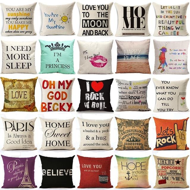 Cushion Cover Home Sweet Pillow Case Cotton Linen Sunshine Love Letter Cushion Sofa Bedroom Decorative Pillow Cover