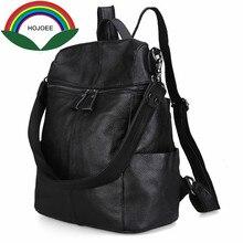 Натуральная кожа рюкзак женщины нейтральной Корова кожа путешествия Школьные ранцы винтажные Эсколар черный рюкзаки карман рюкзак женский