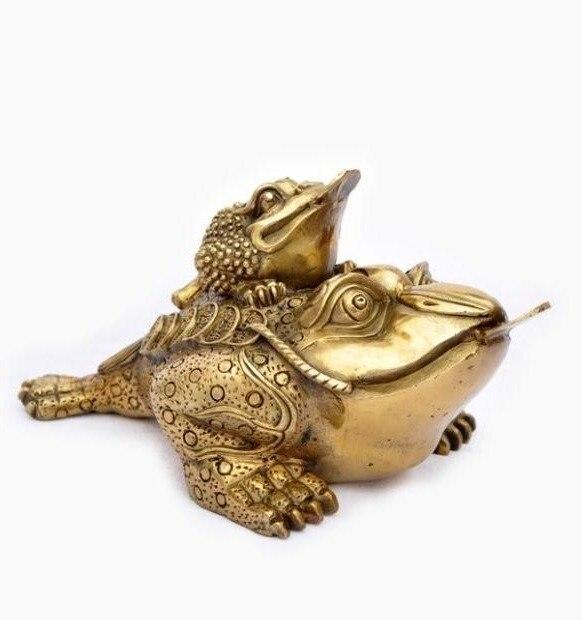 Rare ancienne Statue/Sculpture en cuivre de la dynastie qing--- crapaud doré, avec marque, meilleure collection et parure, livraison gratuite