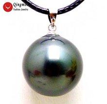 Черный круглый кулон qingmos и ожерелье для женщин с 18 мм глянцевыми