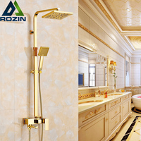 Golden Luxury Bath Shower Mixers One Handle 8 Rainfall Shower Faucet Set Wall Mounted with Hand Shower