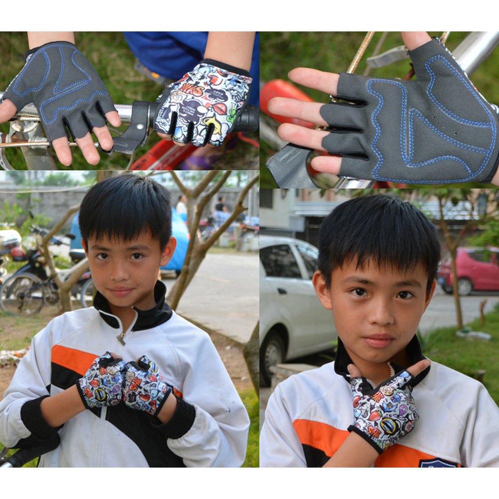 Outdoor Sports Accessories Mountain Bike Riding Fitness Boy Girl Glove Cycling Sarung Tangan Sepeda Teen Short Finger Children Kid Half Gloves Hy Ss In From