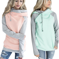 ELSVIOS 20 Colors Kawaii Side Zipper Hooded Hoodies Sweatshirt Women Patchwork Warm Autumn Hoodies Double Hood