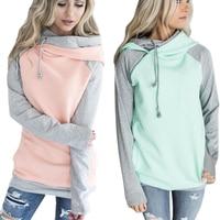 ELSVIOS 20 Colors Kawaii Side Zipper Hooded Hoodies Sweatshirt Women Patchwork Warm Autumn Hoodies Double Hood