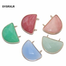 Wholesale 14 Colors Crescent Shape Charm Natural Stone Rose Quartz Agat Pendant DIY Necklace For Jewelry Making Material