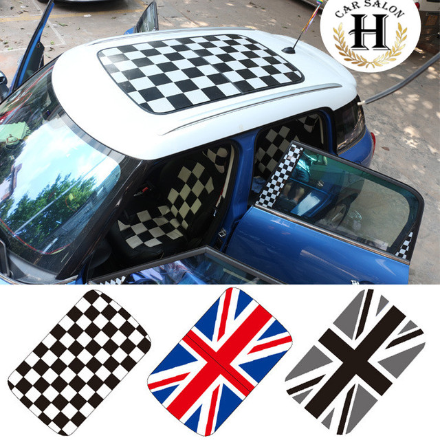8 color perforated car roof sticker for mini cooper accessories f55 f56 countryman checker union jack