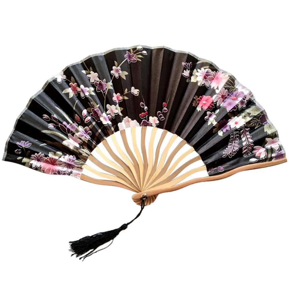 New Chinese Style Hand Held Folding Dance Fan Wedding Party Lace Silk Folding Hand Held Flower Fan C522