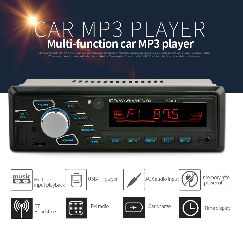 universal 1 din Car Stereo MP3 Audio music Player Bluetooth FM Radio modulator transmitter automagnitol vintage USB <font><b>quick</b></font> <font><b>charge</b></font> image