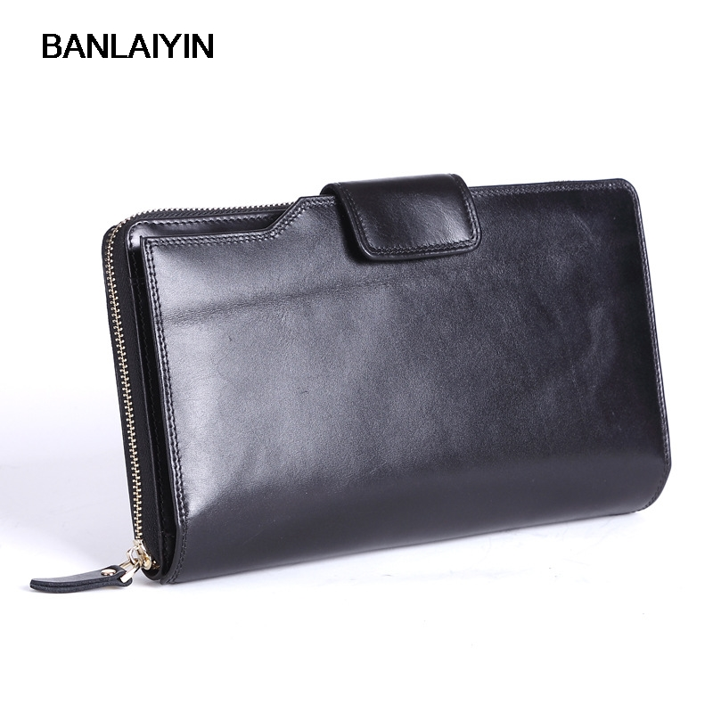 Genuine Leather Men Wallets With Multi Card Holders Men's Long Wallets Purse Man Clutch Bag Male Fashion Wallet new arrival 2017 wallet long vintage man wallets soft leather purse clutch designer card holders business handbags clips