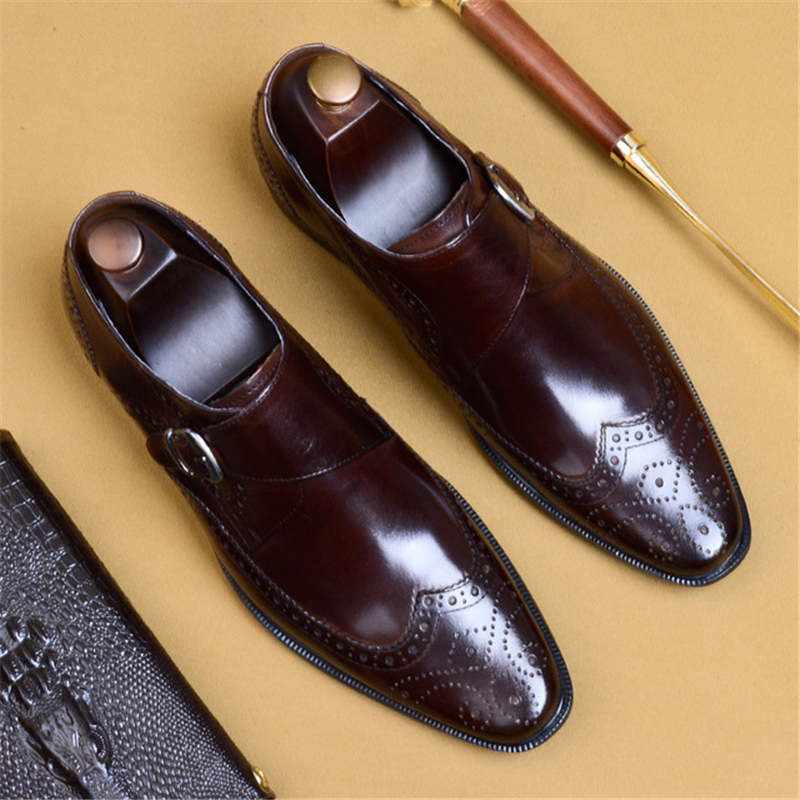 Phenkang mens formal shoes genuine leather oxford shoes for men black 2019 dress wedding buckle leather
