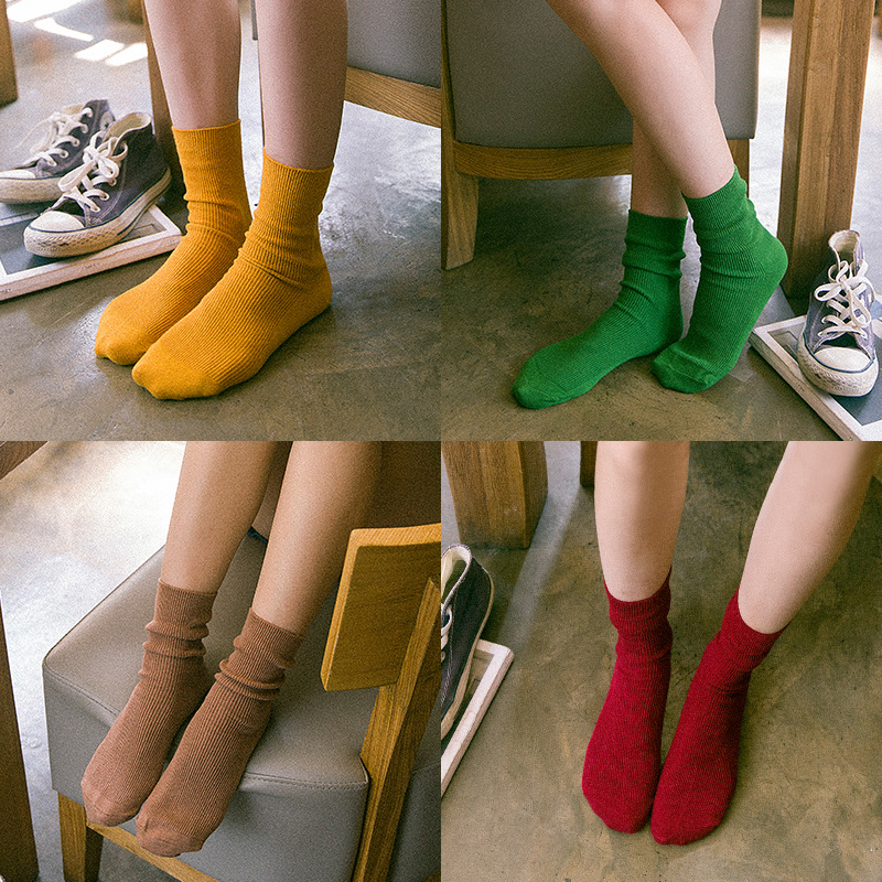 New Autumn Solid   Socks   For Women Knitted Stretchy Orange Sokken Female Cotton Casual Calcetines Mujer Girls Green   Sock   Meias