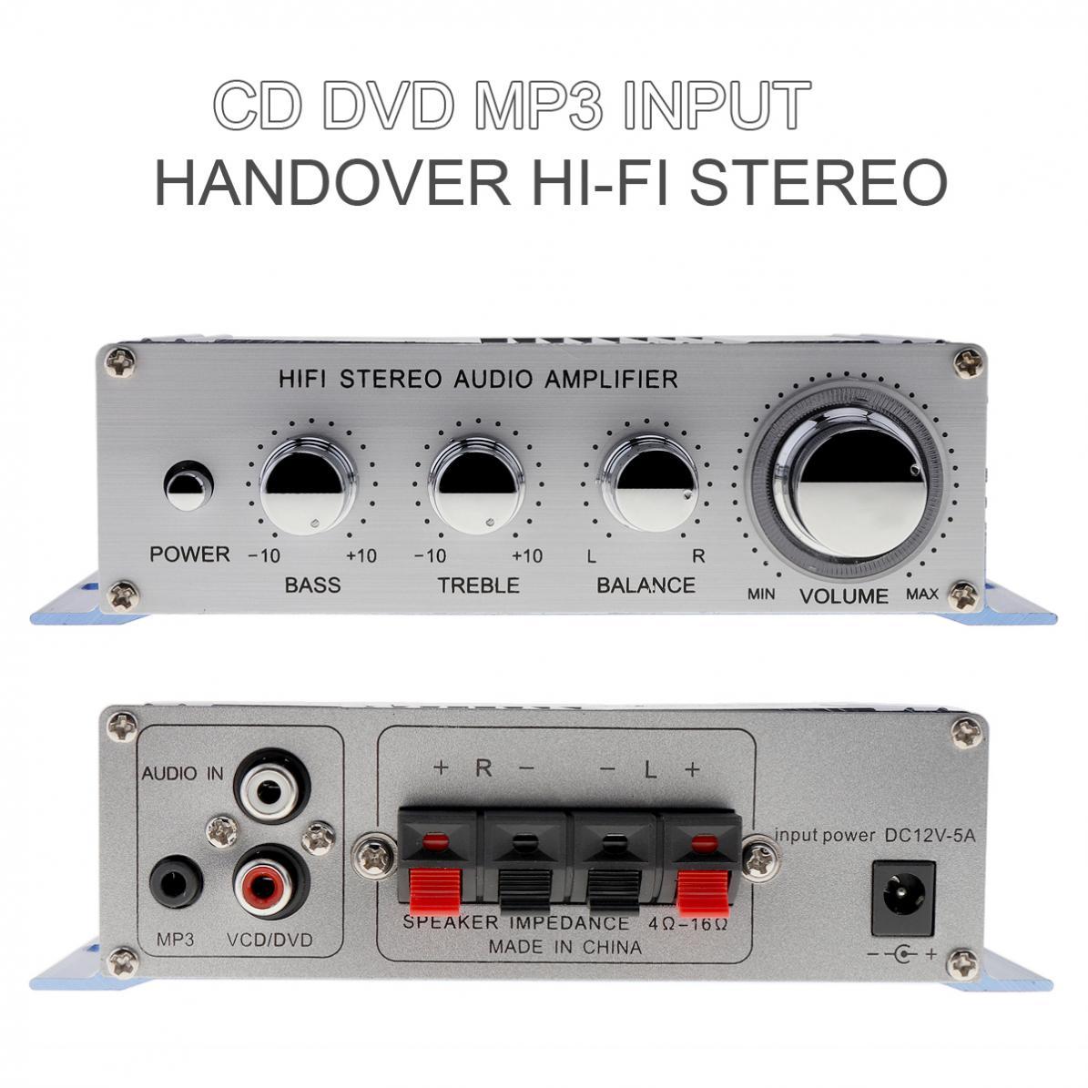 Kentiger 2 Kanäle 12 V CD/DVD/Mp3-eingang Hallo-fi Stereo Audio Bass Auto Lautsprecher Verstärker Subwoofer RMS 20 Watt + 10 Watt