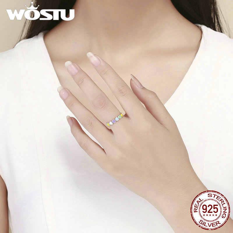 Wostu Hot Sale 925 Sterling Perak Multi Warna Pelangi Hati Jari Cincin untuk Wanita Fashion Ulang Tahun Hadiah Perhiasan CQR444