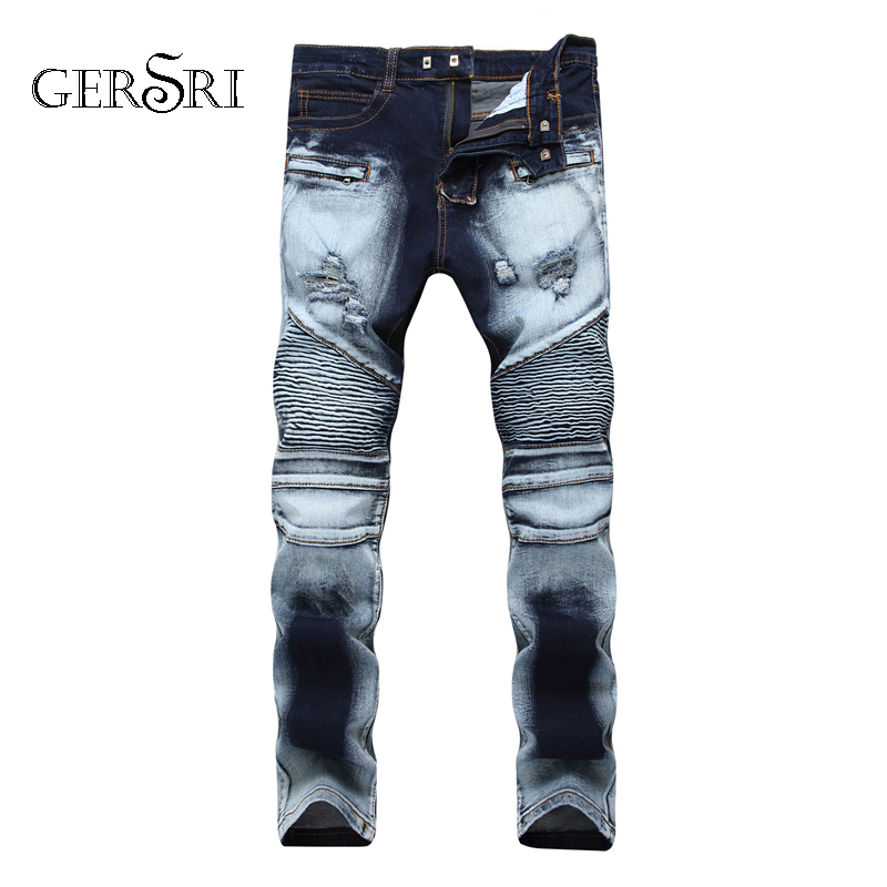 Gersri 100% Cotton Streetwear Men Skinny Biker Jeans Homme STraight Male Motorcycle Moto Hip Hop Denim Pants Joggers Runway Jean