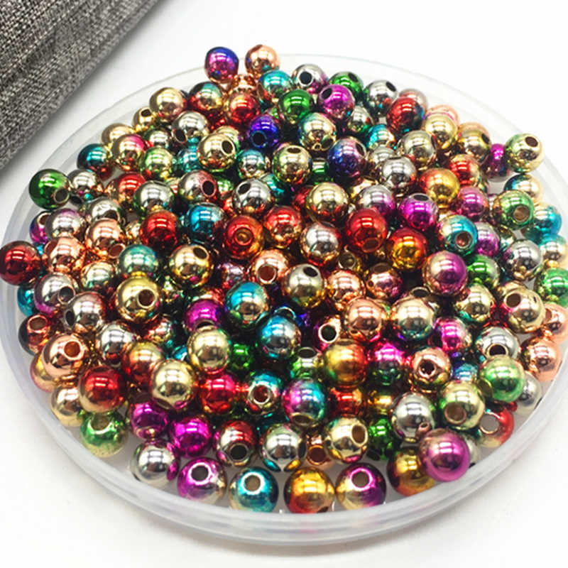 2018 The Newest 6mm 100 Pcs Plating Rainbow Color Double Holes Imitation Pearls Beads Crafts Decoration For DIY Jewelry Making