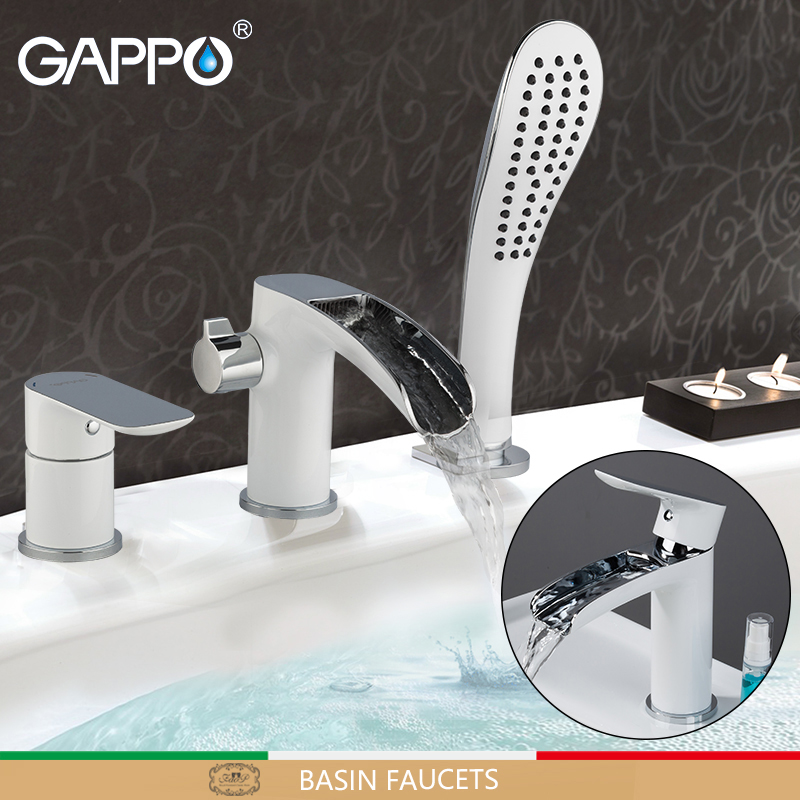 GAPPO Basin Faucets white bathroom basin faucet waterfall taps chrome bathtub faucet bath shower mixer water tap faucet         GAPPO Basin Faucets white bathroom basin faucet waterfall taps chrome bathtub faucet bath shower mixer water tap faucet