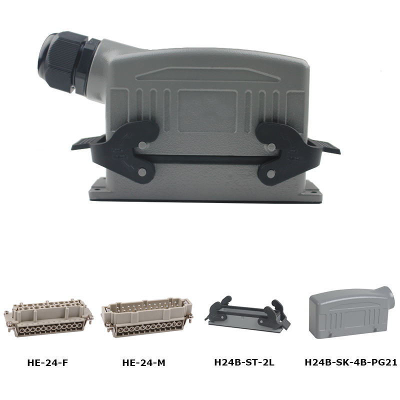 HE-024 a Whole set 24pins jack screw Heavy Duty Connector 16A 500V car-styling he 024 4d 16a terminal block power crimp plug heavy duty connectors for spinning and packing machine