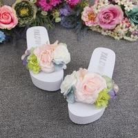 2018 Summer Handmade Large Peony Flower Casual Flip Flops Slippers Online 11cm Women High Heel Wedge Beach Shoes
