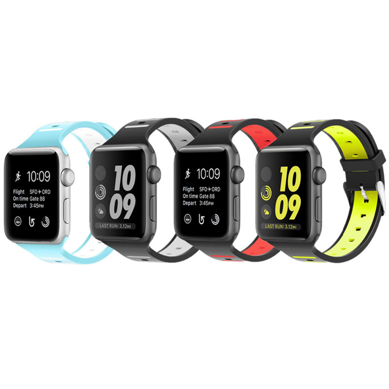 CRESTED Sport strap band for apple watch serise 3/2/1 42mm 38mm Double color silicone wrist bracelet watchband for iwatch sport silicone band strap for apple watch nike 42mm 38mm bracelet wrist band watch watchband for iwatch apple strap series 3 2 1