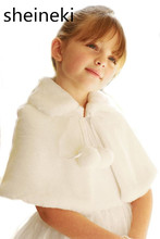 Cute Ivory White Pink Wedding Party Flower Girl Faux Fur Stole Wraps Cape Kids Fall Winter Shrug Jackets Cheap In Stock(China)