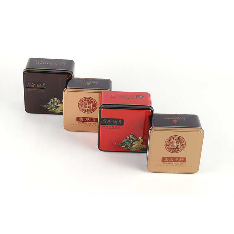 Xin Jia Yi Packaging Square Small Tin Box Matcha  Mini Tin Can Manufacturer Coffee Cookie Square Metal Box Package with Lid