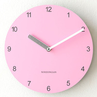Cute Kids Pink Wall Clock Designer Simple Home European Creative Living Room Clock Wall Wood Duvar Saat Decoration Watch 50w196