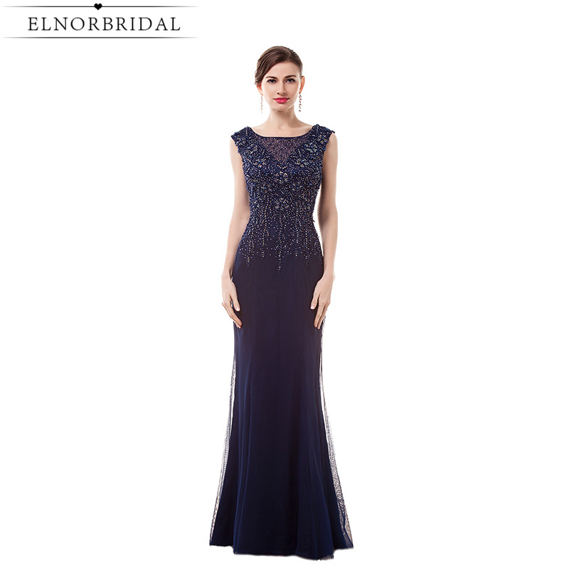 Navy Mermaid Evening Dresses Long 2017 Formal Women Party Dress Beading Robe De Soiree Special Occasion Prom Gowns
