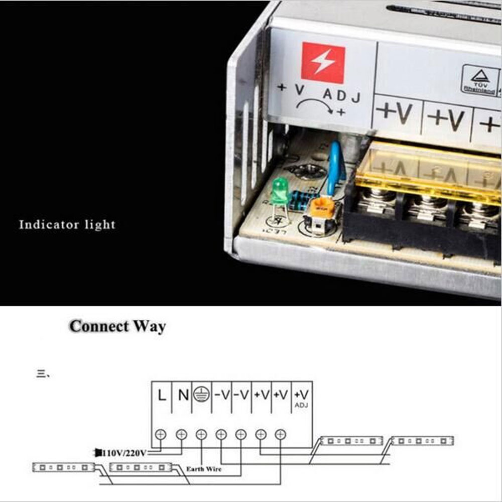 Led Power Adapter Ac 100 240v To Dc12v Switching Lighting Diy 5050 Wiring Diagram Transformer 1a 2a 3a 5a