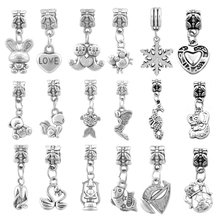Wholesale 100 Pieces/lot Teddy bear Swan Animal Charms Fit Pandora Charm Beads Bracelet For Women Jewelry Making SPB178