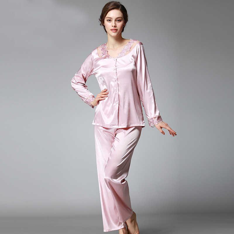 aa982709125 ... SSH037 Spring Autumn Women Satin Silk Pajama Set Sleepcoat Sleep Pant  High Quality Lady Nightdress Female ...