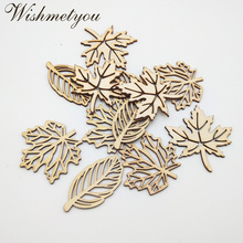 WISHMETYOU 24pcs Mix Leaf Natural Wood Chips Embellishments Scrapbooking Crafts Supplies Handmade Leaves Art Graffiti Button New