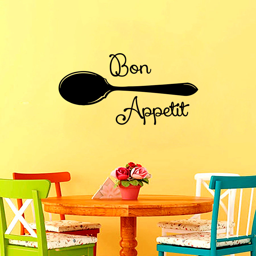 Décoration Murale Adhésive Dctop Bon Appetit Spoon Wall Sticker Dining Room Kitchen Adhesive