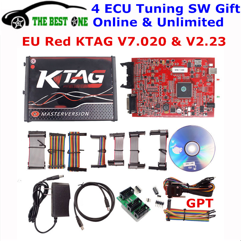 Online EU KTAG V7.020 Red PCB With Murata filters Unlimited K-TAG 7.020 V2.23 SW