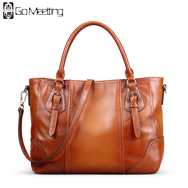 Go Meetting Vintage Genuine Leather Women Handbags Sprayed Color Cow Leather Women Shoulder Bag High Quality Messenger Bags go meetting 100
