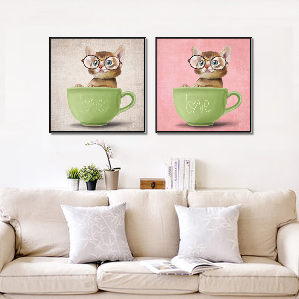 Unframed Multiple Pieces HD Canvas Painting Cartoon Bowl Cat Picture Prints Wall Pictures For Living Room Wall Art Decoration