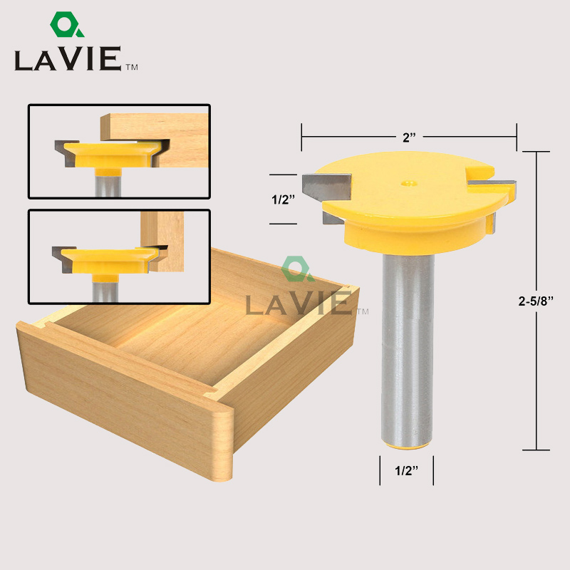 LA VIE 1/2 Straight Drawer Molding Router Bit Drawer Lock Tenon Knife Plug Wood Milling Cutter Door Woodworking Tool MC03005