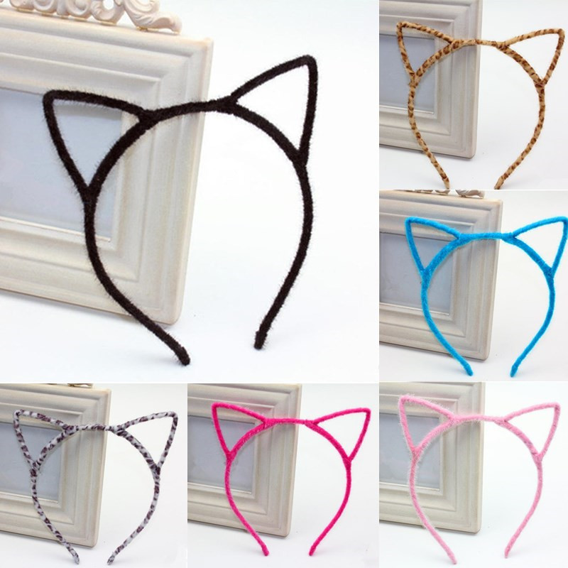 Fashion Cute Cat Ear Women Lady Hairbands Design Girls Lovely Headbands Bezel Plush Leopard Solid Hair Accessories 1PC