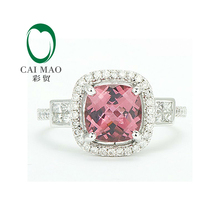 14K White GOLD Natural 2.32ct PINK TOURMALINE DIAMOND JEWELRY