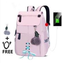 Hot school backpack for girls college school bags bookbag cute women shoulder bag fur ball bowknot backpacks for teenage girls