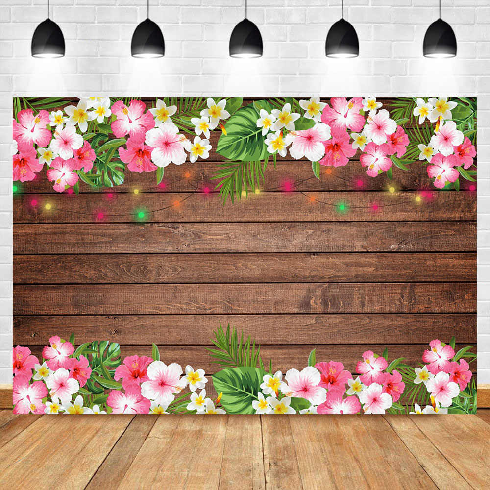 Neoback Pink White Floral Wooden Baby Shower Backdrop Neon String