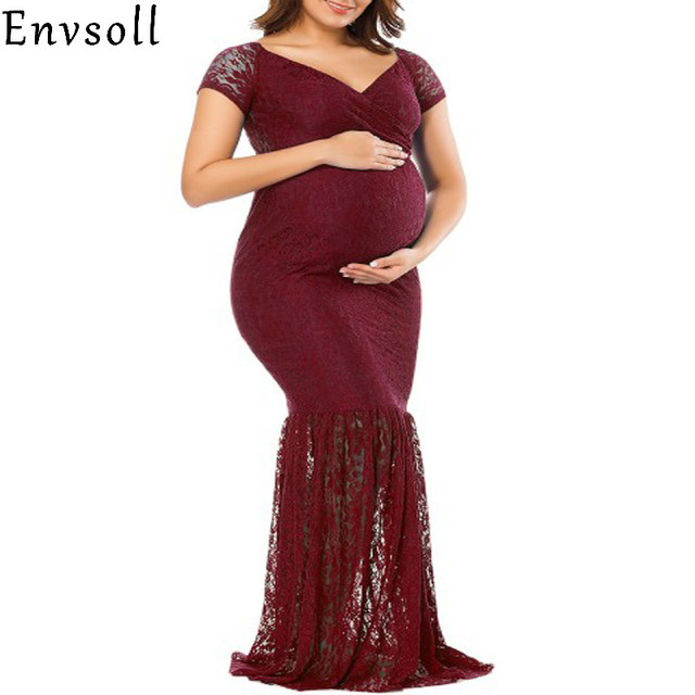 Aliexpress Com Buy Envsoll Maternity Dress Gown Wedding Party Dresses Pregnant Long Maxi V Neck Lace Dress Maternity Clothes For Pregnant Women From