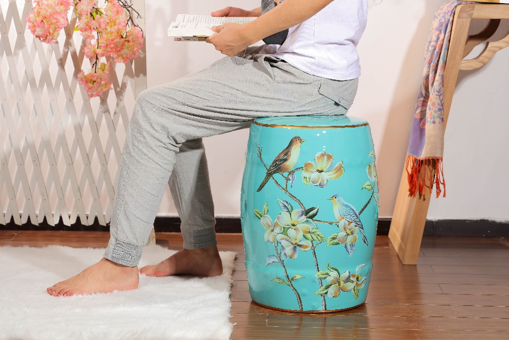 Blue antique chinese garden decorative ceramic drum stool for sale цена и фото